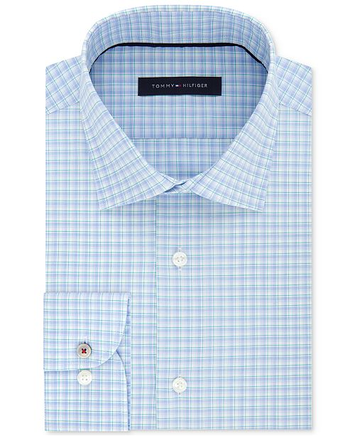 f6aeb218f Tommy Hilfiger Men's Slim-Fit Non-Iron Performance Stretch Blue Check Dress  Shirt,
