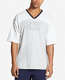 DKNY Men's Colorblocked Logo-Print V-Neck Hockey Jersey