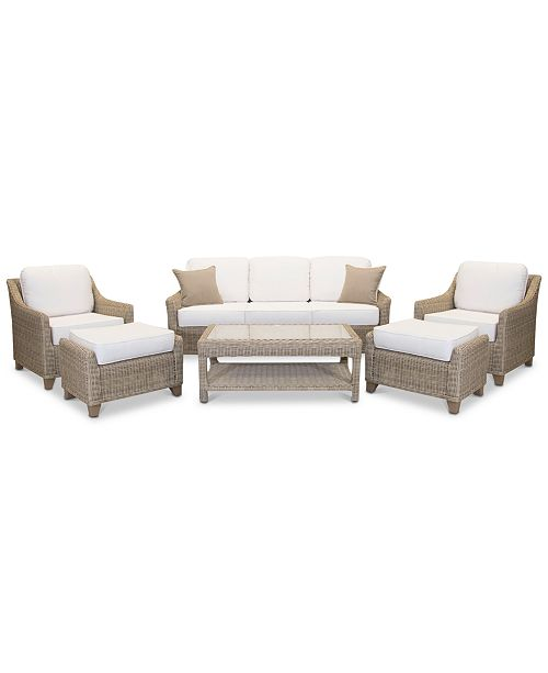Fabulous Willough Outdoor 6 Pc Set 1 Sofa 2 Club Chairs 1 Coffee Table 2 Ottomans Created For Macys Cjindustries Chair Design For Home Cjindustriesco