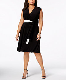 Taylor Plus Size Deep V-Neck Jersey Wrap Dress