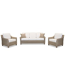 Willough Outdoor 3-Pc. Set (1 Sofa & 2 Club Chairs), Created for Macy's