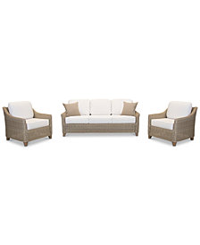 Willough Outdoor 3-Pc. Set (1 Sofa & 2 Club Chairs), with Sunbrella® Cushions, Created for Macy's