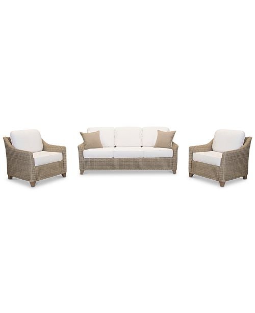 Furniture Willough Outdoor 3-Pc. Set (1 Sofa & 2 Club Chairs), Created for Macy's