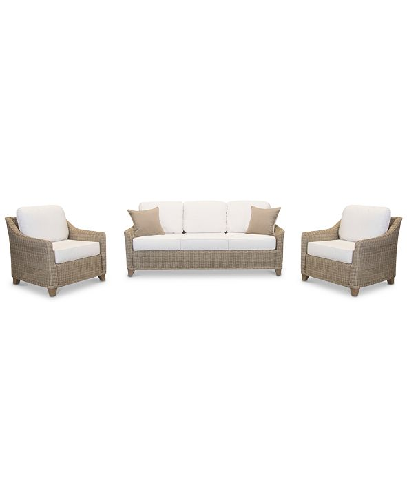 Furniture Willough Outdoor 3-Pc. Set (1 Sofa & 2 Club Chairs), with Sunbrella® Cushions, Created for Macy's