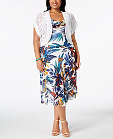 Robbie Bee Plus Size Printed Dress & Shrug