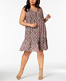 NY Collection Plus Size Geo-Print Lace-Up Dress