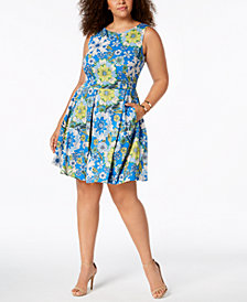 Taylor Plus Size Floral-Print Fit & Flare Dress