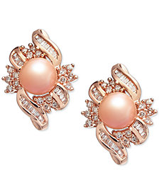 Pink Cultured Freshwater Pearl (6-1/2 mm) & Diamond (1/2 ct. t.w.) Stud Earrings in 14k Rose Gold