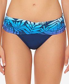 Bleu By Rod Beattie Palm-Print Sarong Bikini Bottoms