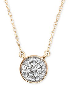 "Diamond Accent Button Pendant Necklace in 14k Gold, 15"" + 1"" extender, Created for Macy's"