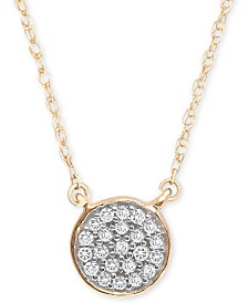 "Elsie May Diamond Accent Button Pendant Necklace in 14k Gold, 15"" + 1"" extender, Created for Macy's"