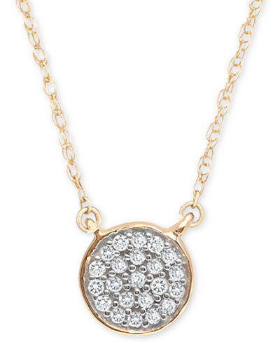 Elsie May Diamond Accent Button Pendant Necklace in 14k Gold, 15