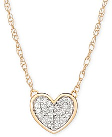 "Diamond Accent Heart Pendant Necklace in 14k Gold, 15"" + 1"" extender, Created for Macy's"