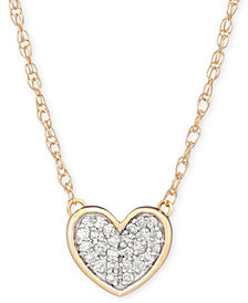 "Elsie May Diamond Accent Heart Pendant Necklace in 14k Gold, 15"" + 1"" extender, Created for Macy's"