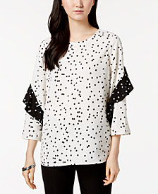 Alfani Printed Ruffled-Sleeve Zip-Back Top, Created for Macy's