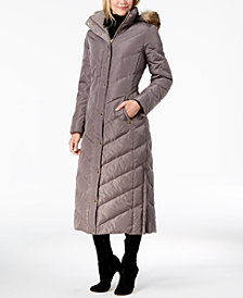 MICHAEL Michael Kors Faux-Fur-Trim Quilted Maxi Puffer Coat