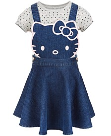 Little Girls 2-Pc. Denim Skirtall & T-Shirt Set