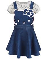 7e0a357d8 Hello Kitty Little Girls 2-Pc. Denim Skirtall & T-Shirt Set