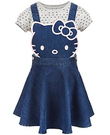 Hello Kitty Little Girls 2-Pc. Denim Skirtall & T-Shirt Set