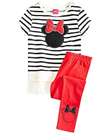 Little Girls 2-Pc. Minnie Mouse Silhouette Top & Leggings Set
