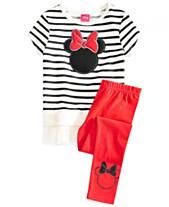 ab7cfa8ae Disney Little Girls 2-Pc. Minnie Mouse Silhouette Top & Leggings Set