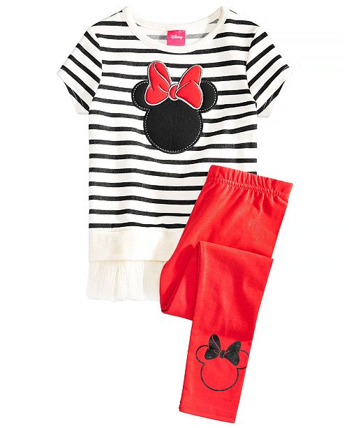 Disney Little Girls 2-Pc. Minnie Mouse Silhouette Top & Leggings Set