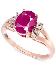 Ruby (1-5/8 ct. t.w.) & Diamond (1/8 ct. t.w.) Ring in 14k Rose Gold