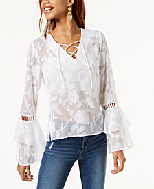 One Hart Juniors' Ruffle-Sleeved Burnout Blouse, Created for Macy's