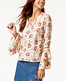 One Hart Juniors' Ruffle-Sleeved Printed Blouse, Created for Macy's