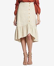 Sanctuary Lola Linen Ruffle-Hem Skirt