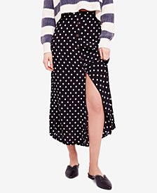Free People Retro Love Polka-Dot Midi Skirt