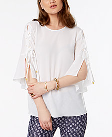 MICHAEL Michael Kors Lace-Up-Sleeve Top