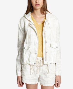 Nova Linen Camouflage Hooded Jacket, White Camo