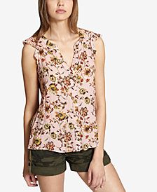 Sanctuary Floral-Print Split-Back Blouse