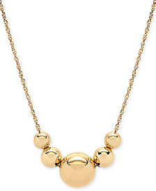 "Floating Bead 17"" Statement Necklace in 14k Gold"