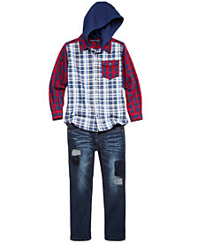 Tommy Hilfiger Big Boys Plaid-Print Hoodie & Denim Jeans Separates