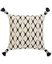 "Oxford Collection Hand-Woven Diamond Tassel 22"" Square Decorative Pillow, Created for Macy's"