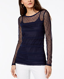 MICHAEL Michael Kors Lace Top, Regular & Petite