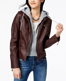 Jou Jou Juniors' Hooded Faux-Leather Moto Jacket