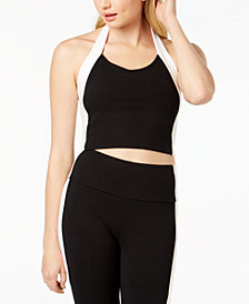 Material Girl Juniors' Contrast Halter Top, Created for Macy's