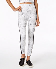 Material Girl Juniors' Contrast-Stripe Printed Leggings, Created for Macy's