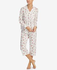 Lauren Ralph Lauren Plaid Dobby Floral-Print Pajama Set