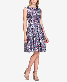 Tahari ASL Floral-Appliqué Printed Fit & Flare Dress