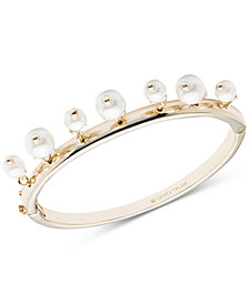 Ivanka Trump Gold-Tone Imitation Pearl Lariat Shaky Bangle Bracelet
