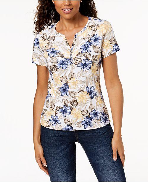 ca054d2c Karen Scott Printed Henley T-Shirt, Created for Macy's & Reviews ...
