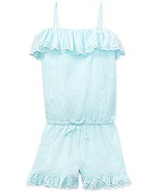 Polo Ralph Lauren Big Girls Ruffled Cotton Romper