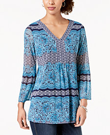 Charter Club Mixed-Print V-Neck Top, Created for Macy's
