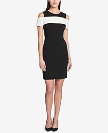Tommy Hilfiger Colorblocked Cold-Shoulder Dress