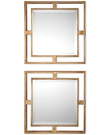 Allick Gold Square Mirrors, Set of 2