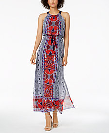 Nine West Printed Drawstring Maxi Dress